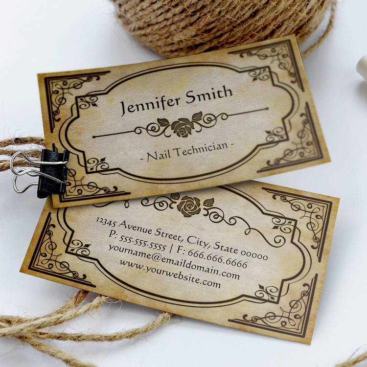 Nail Technician Elegant Vintage Antique Business Card Template