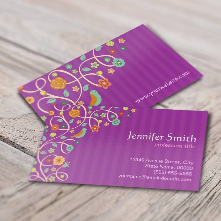 Customizable Orchid Purple Nature Theme (changeable color) Business Card Templates
