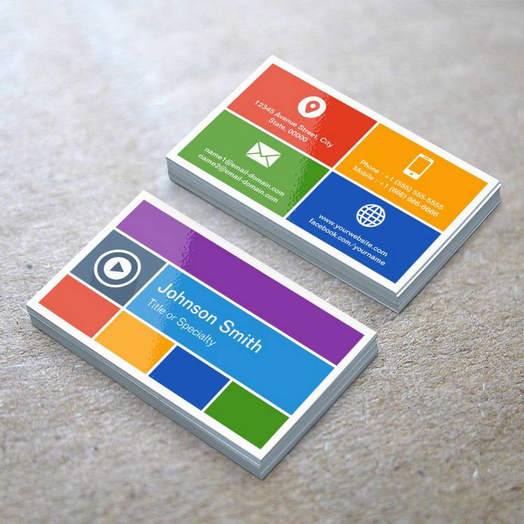 Customizable Personalized Flat Metro Style - Modern Creative Business Cards