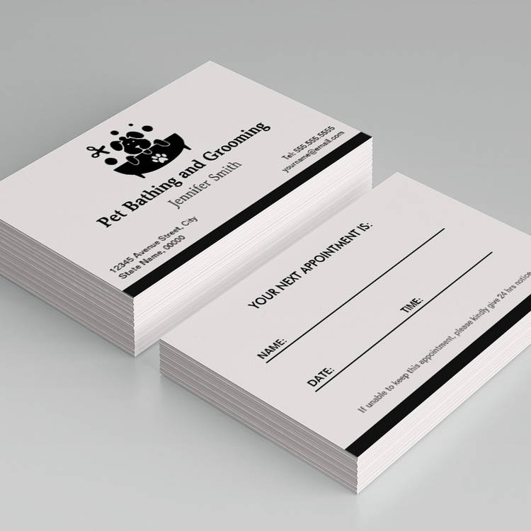 Pet bathing and grooming appointment business card template fbccfo Choice Image