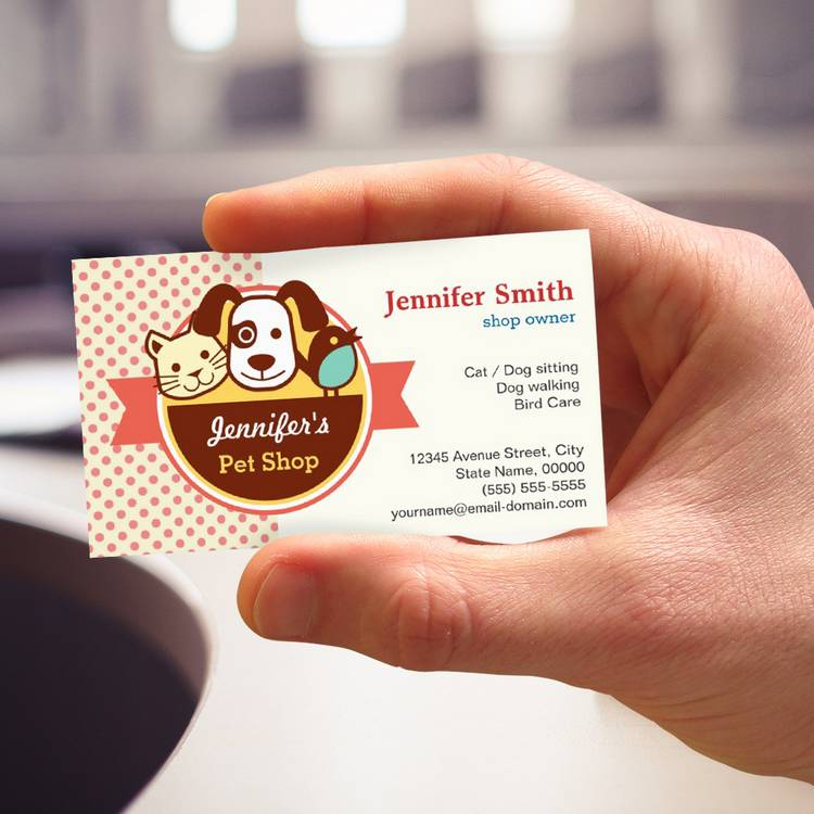 Pet shop cute polka dots business cards colourmoves