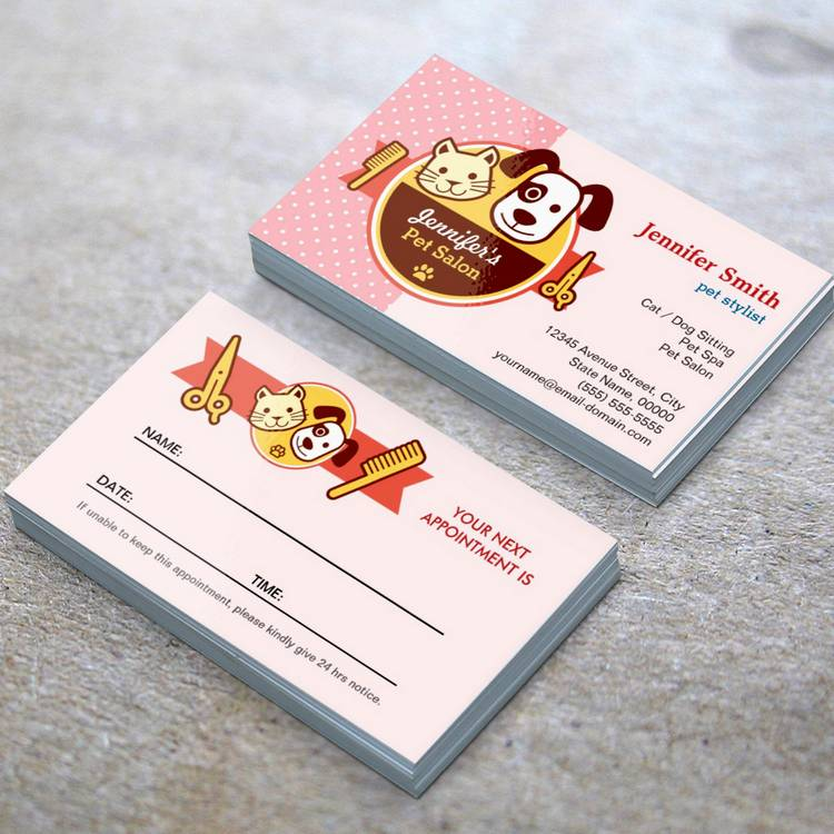 Customizable Pet Spa Salon - Appointment Card Business Card