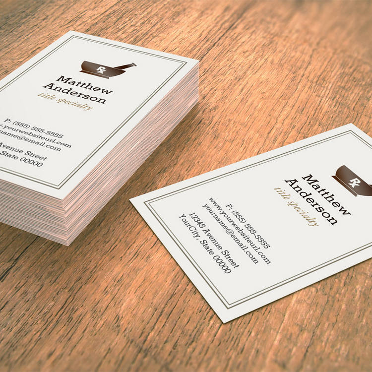 Customizable Pharmacy Pharmacist Druggist Logo Elegant Classic Business Card Templates