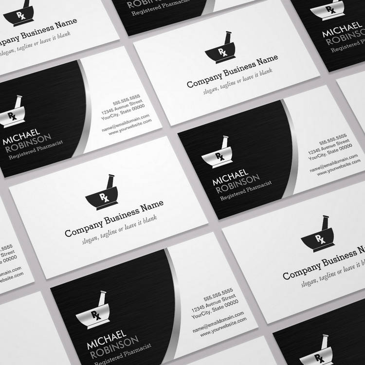 Customizable Pharmacy Pharmacist Logo - Modern Black Silver Business Card Templates