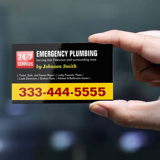 Customizable Plumber - 24 HOUR EMERGENCY PLUMBING SERVICES Business Card Templates