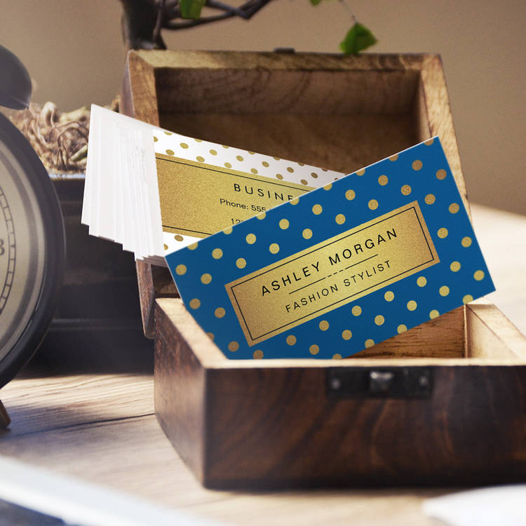 Customizable Premium Blue and Gold Glitter Polka Dots Business Cards