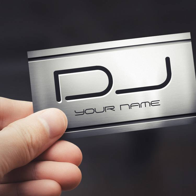 Customizable Premium Brushed Stainless Steel Metal - Music DJ Business Card Templates