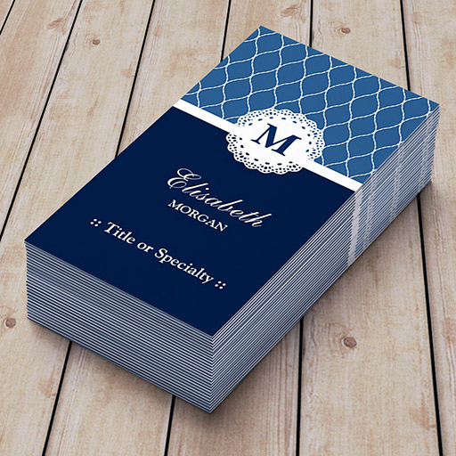 Customizable Professional & Elegant Blue Lace Pattern Business Card Templates