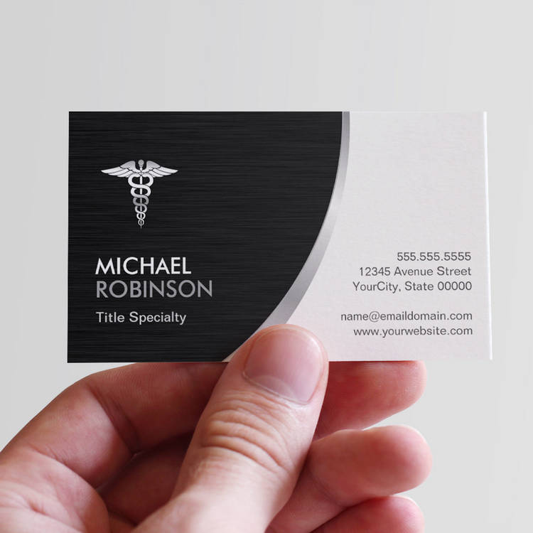 Customizable Professional Medical Caduceus Logo Modern Stylish Business Cards