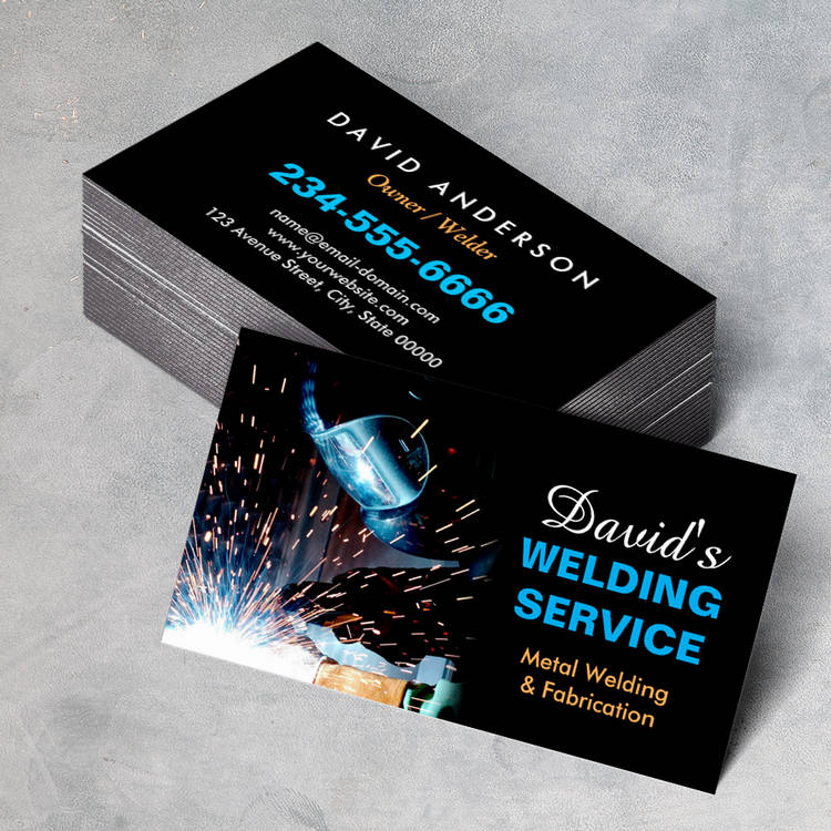 Customizable Professional Metal Welding Fabrication Contractor Business Card Template