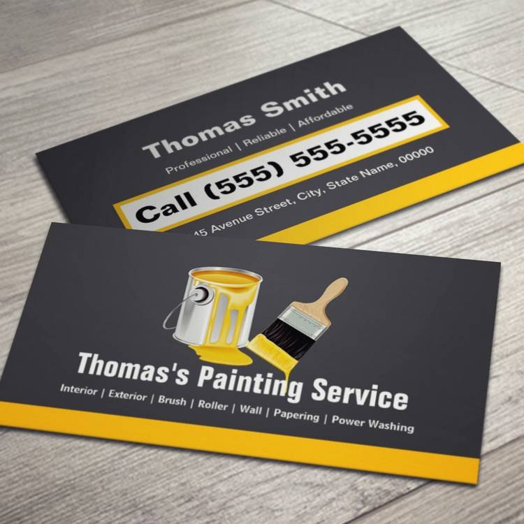 Customizable Professional Painting Service Painter Paint Brush Business Card