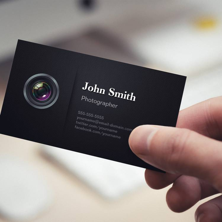 Customizable Professional Plain Black - Camera Photographer Business Card
