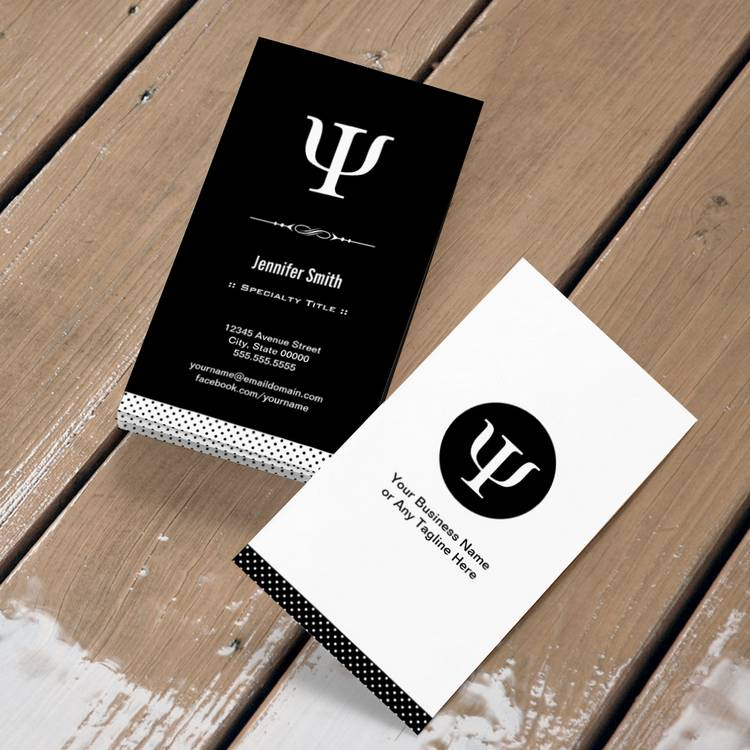 Professional psychologist psychology psi symbol double for Psychology business cards