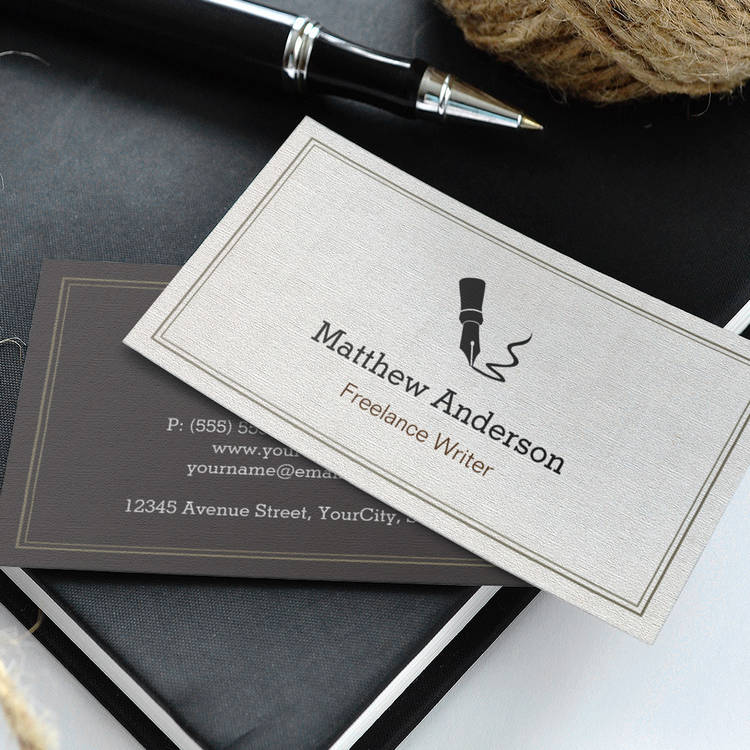 Customizable Professional Writer Editor Author - Beige Linen Business Card Templates