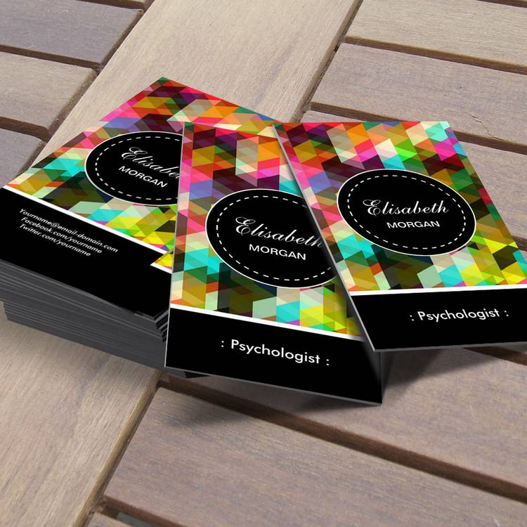 Customizable Psychologist- Colorful Mosaic Pattern Business Card
