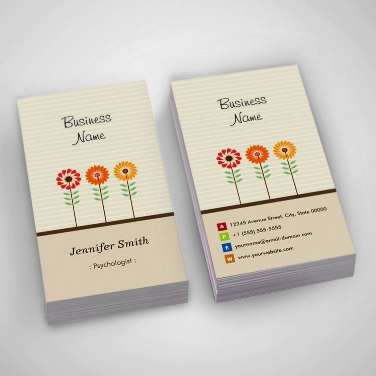 Customizable Psychologist - Cute Floral Theme Business Card Template
