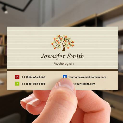 Customizable Psychologist - Elegant Tree Symbol Business Card