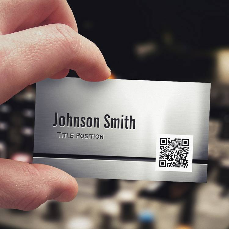 Customizable QR Code and Stainless Steel - Brushed Metal Look Business Cards