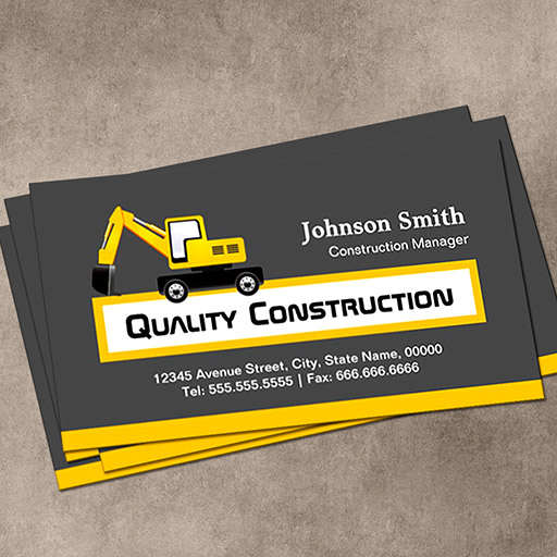 Customizable Quality Construction Company - Elegant Yellow Business Cards