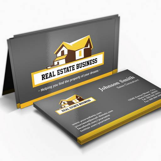 Customizable Real Estate Broker Realtor - Modern Stylish Yellow Business Card Template