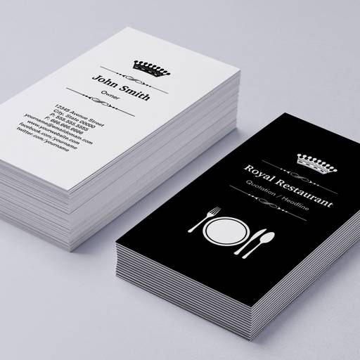 Customizable Royal Restaurant - Elegant Modern Black White Business Card Templates