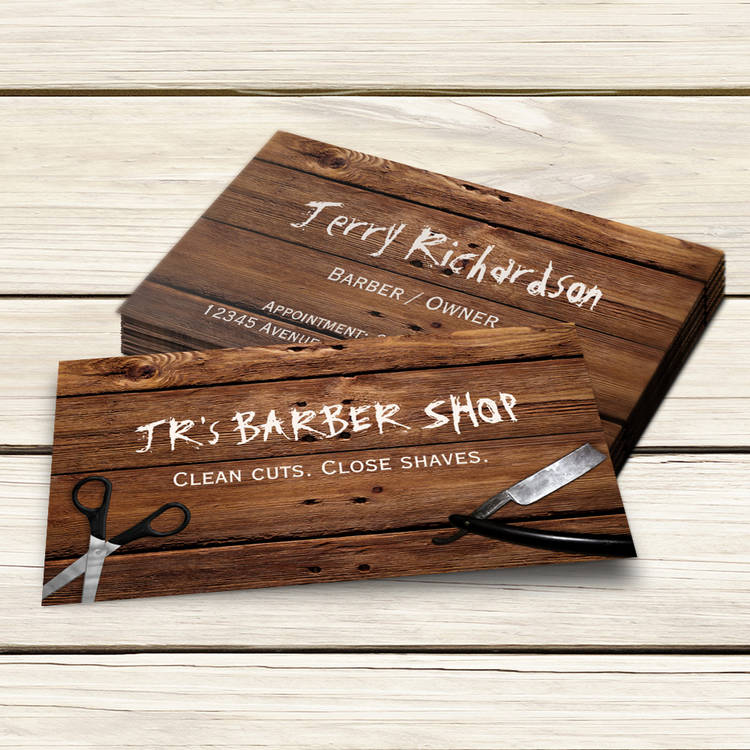 Customizable Rustic Country Barber Shop Scissors and Razor Business Card Template