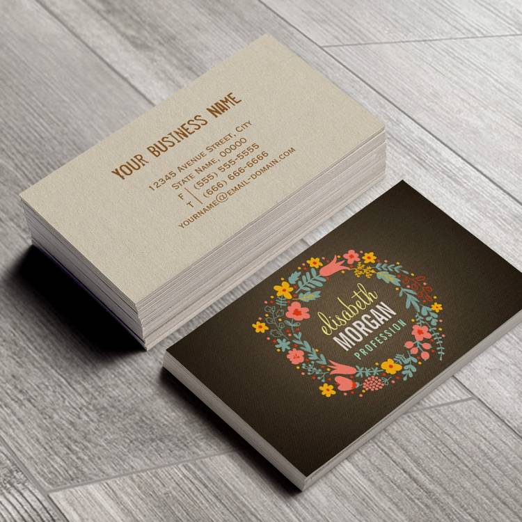 rustic country burlap floral wreath business card template