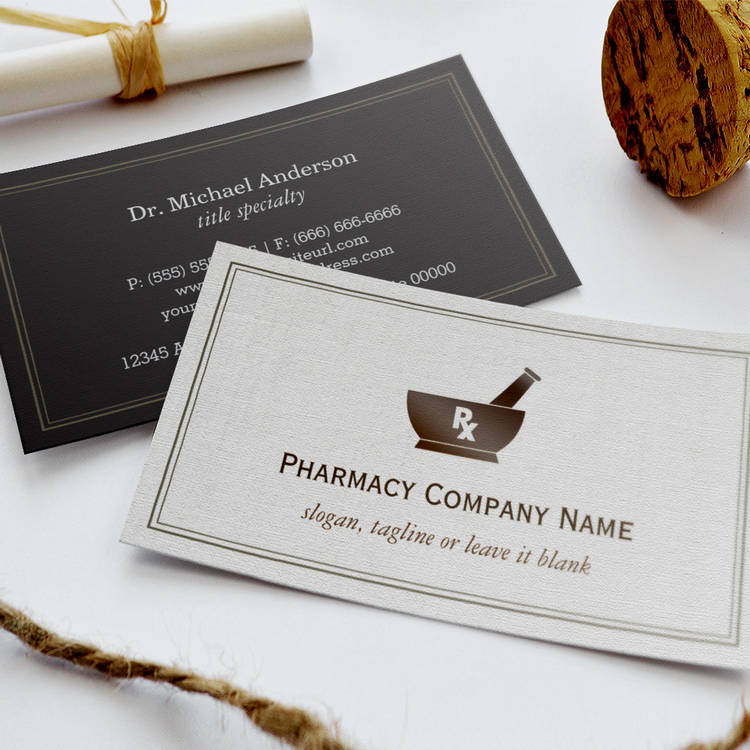 Customizable RX Symbol Pharmacy Chemist Company - Classic Linen Business Card Template
