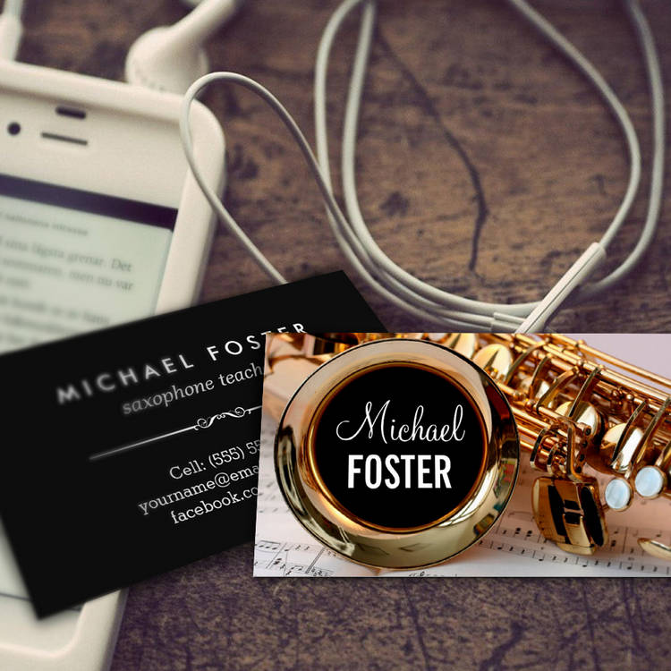 Customizable Saxophonist Saxophone Teacher Sax Lessons Business Card Template