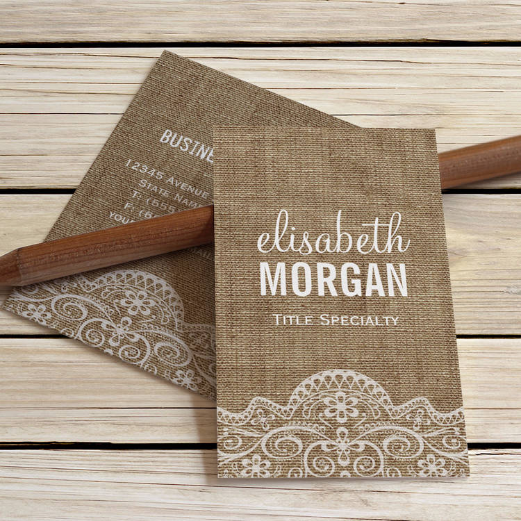 Customizable Shabby Burlap with Elegant Lace - Retro Rustic Business Cards