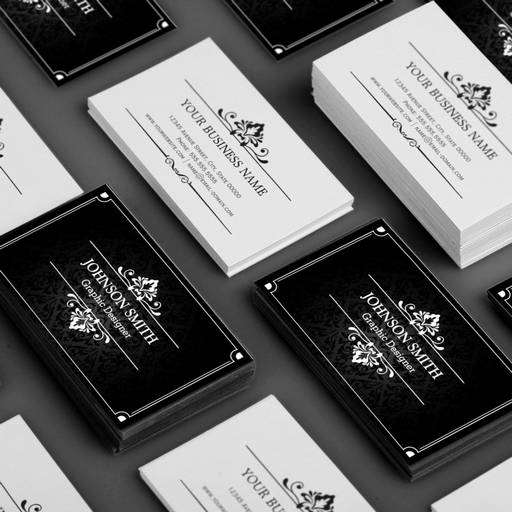 Customizable Shadow of Damask Black and White Business Cards