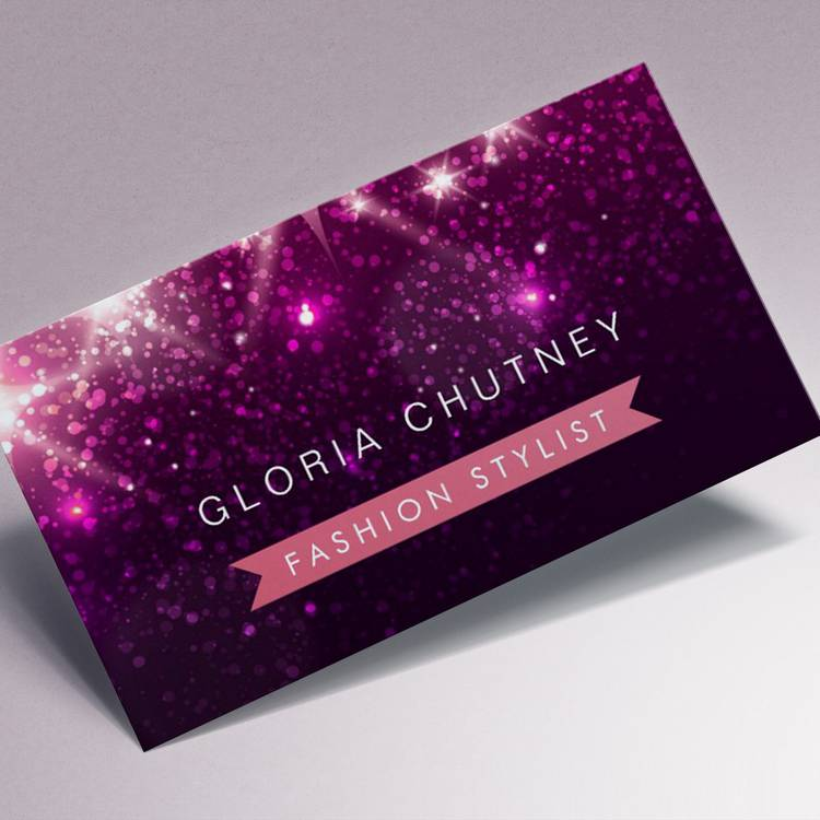Customizable Shiny Purple Glitter - Fashion Stylist Business Card Templates