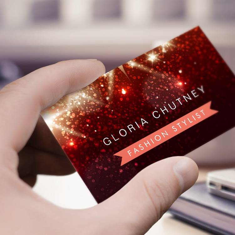 Customizable Shiny Red Glitter - Fashion Designer Business Card Templates
