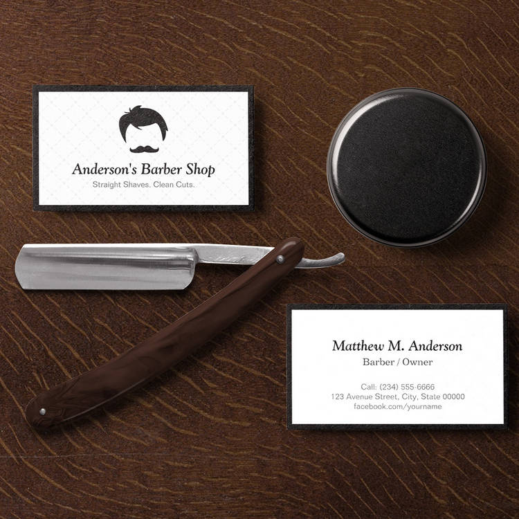 Customizable Simple Elegant Barber Shop Logo Modern Black White Business Card Templates