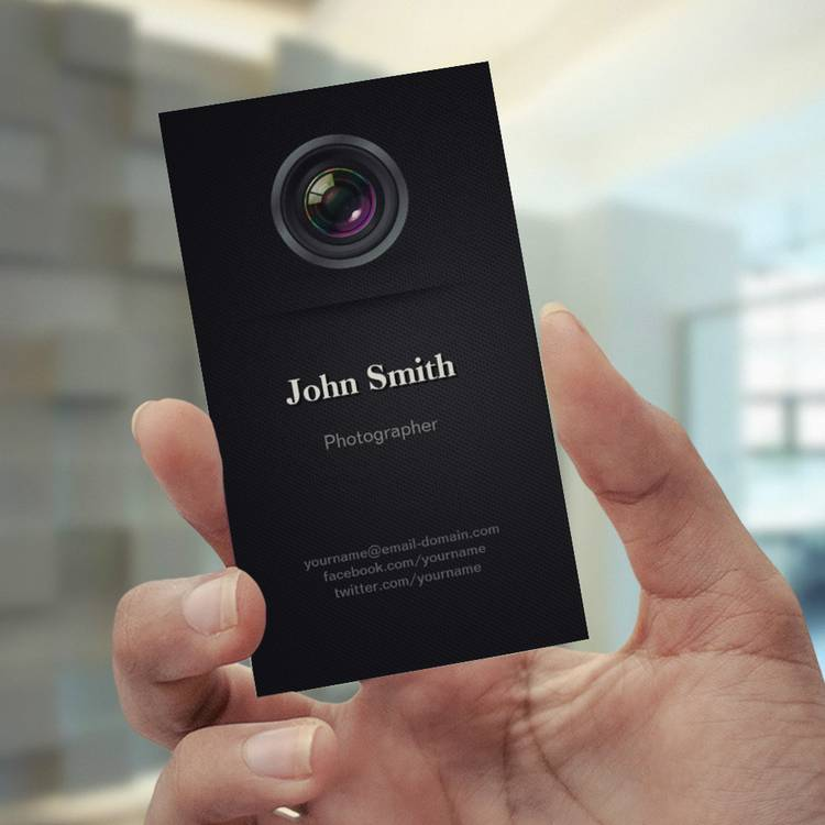 Customizable Simple Plain Black - Photographer Cinematographer Business Cards