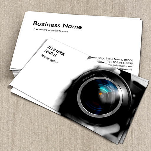 Simply black and white photographer camera lens business cards colourmoves Choice Image