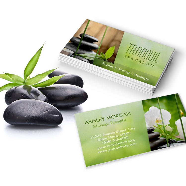 Customizable SPA Still Life Beautiful Green Massage Salon Business Card