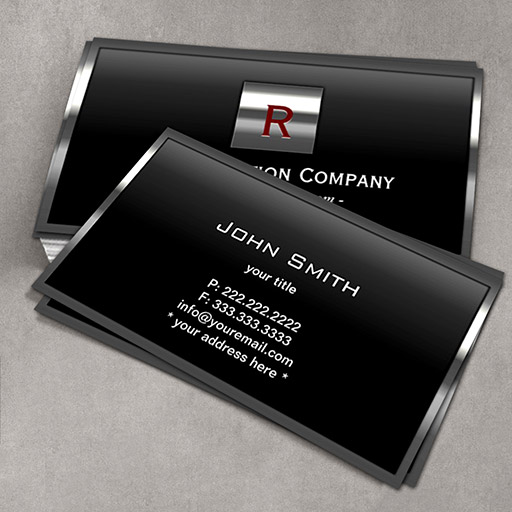 Customizable Steel Border Monogram Construction Business Card