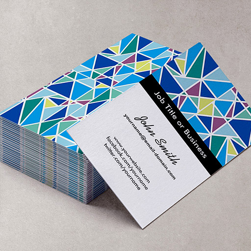 Customizable Stylish Blue Graphic Abstract Diamond Pattern Business Card Templates