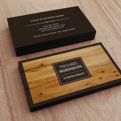Customizable Stylish Border Wood Grain Texture Business Card Templates