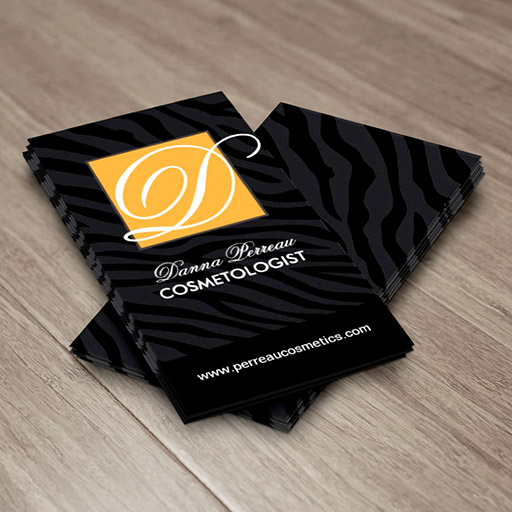 Customizable Stylish Cosmetologist Zebra Print Business Cards