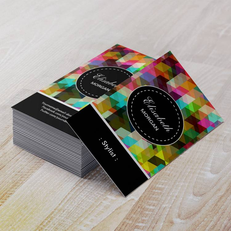 Customizable Stylist- Colorful Mosaic Pattern Business Card