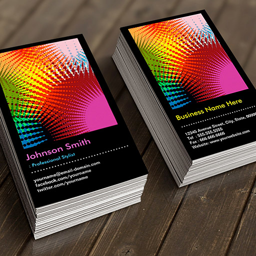Customizable Stylist - Colorful Rainbow Abstract Pattern Business Card
