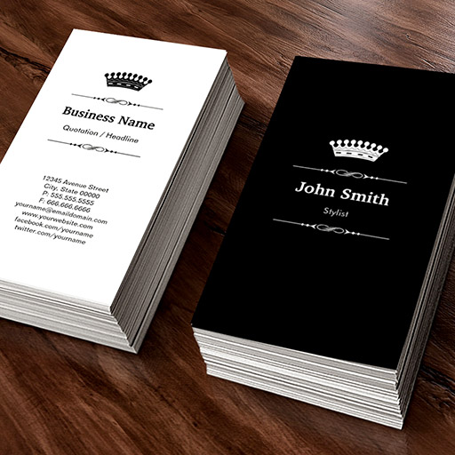 Customizable Stylist Elegant Royal Black White Business Card Template