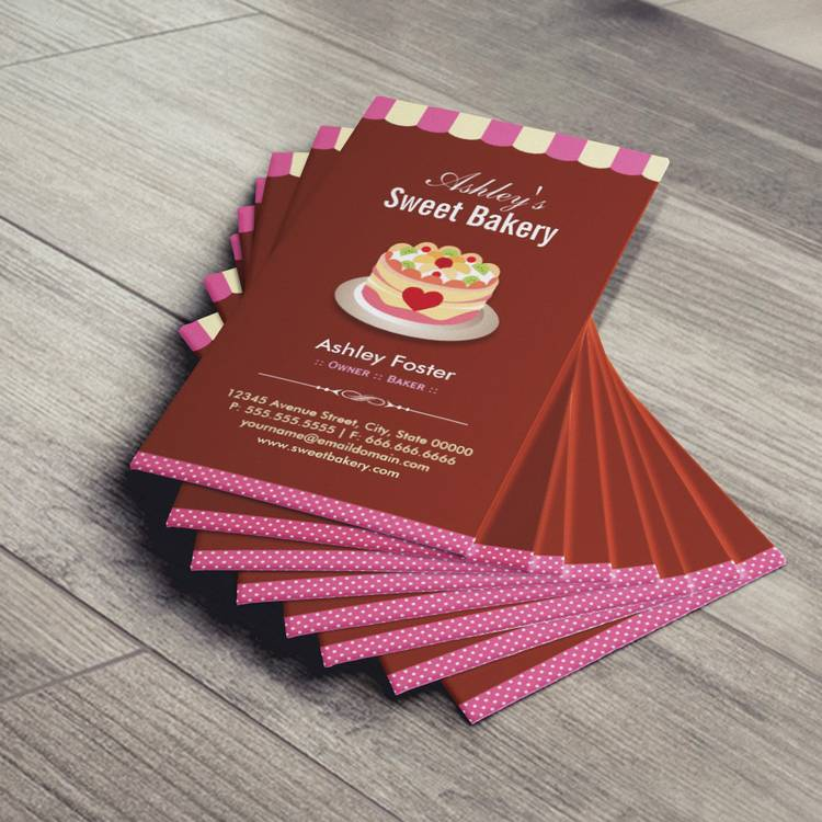 sweet bakery shop custom cakes chocolates pastry business card