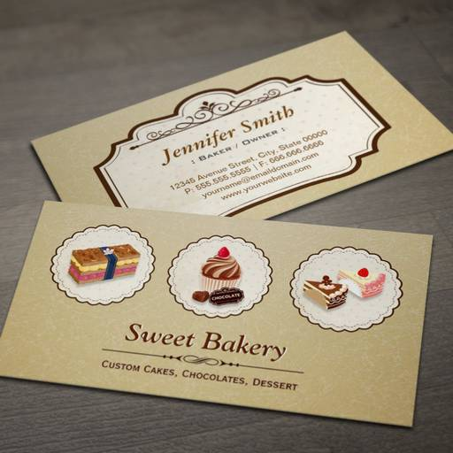 Customizable Sweet Bakery Store Custom Cakes Chocolates Dessert Business Card Templates