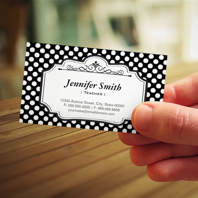 Customizable Teacher - Black Polka Dots Business Card Templates