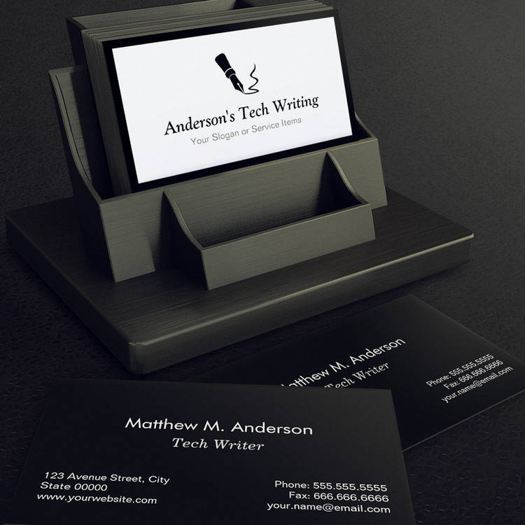Customizable Tech Writer - Classic Black and White Pen Logo Business Card Template