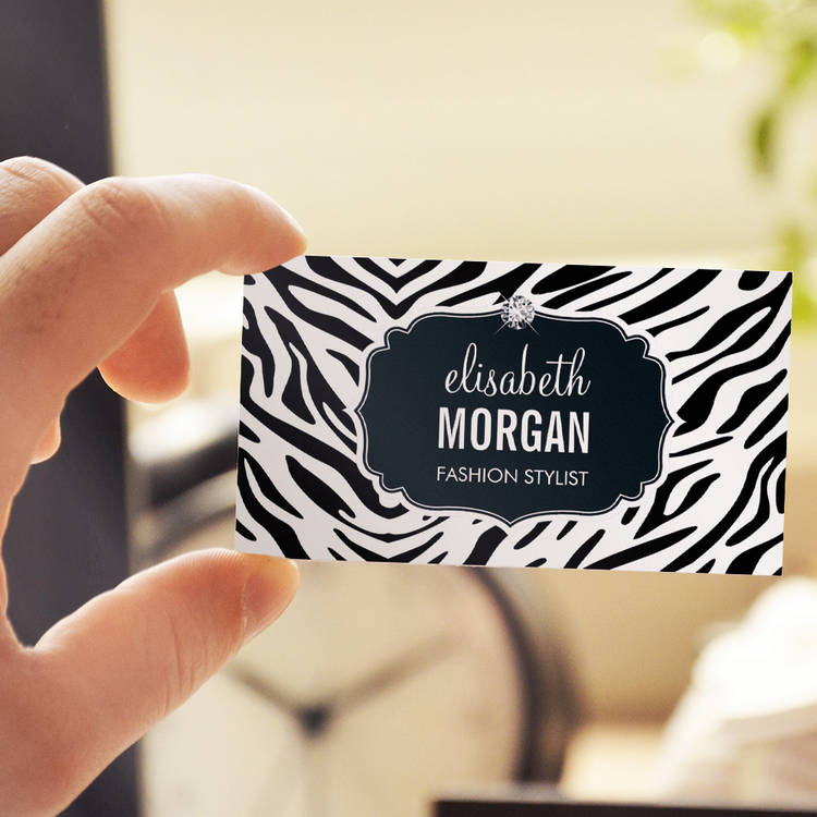 Customizable Trendy Black and White Zebra Print Shiny Diamond Business Card Templates