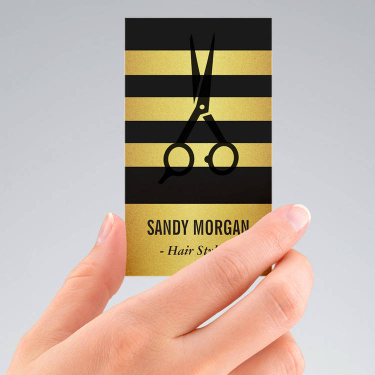 Customizable Trendy Gold Glitter Stripes Design - Hair Stylist Business Card